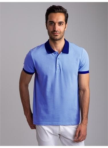 Dufy Su Yeşılı Polo Yaka Düz Erkek T-Shırt - Slım Fıt Mavi